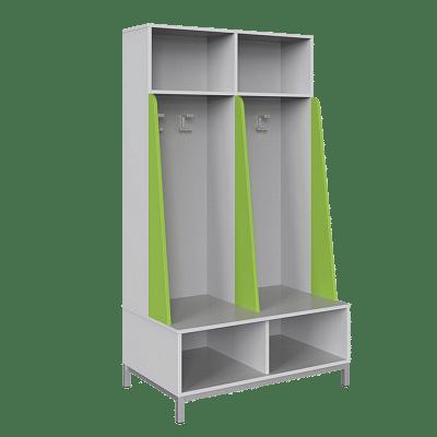 Öltözőbútor - 2 személyes, nyitott, válaszfalas