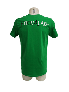 Focivilág Környakú, feliratos póló, zöld