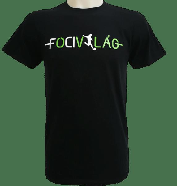Focivilág Környakú, feliratos póló, fekete