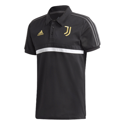 Adidas Juventus FC gallérós póló, fekete-fehér-arany