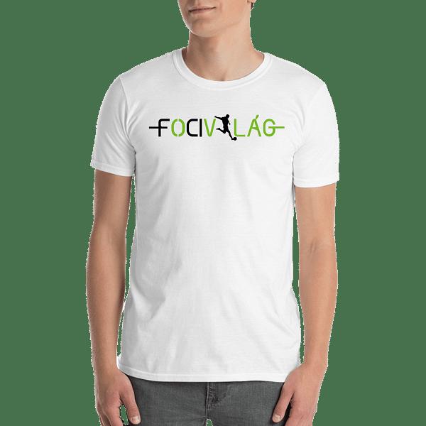 Focivilág környakú, logózott póló